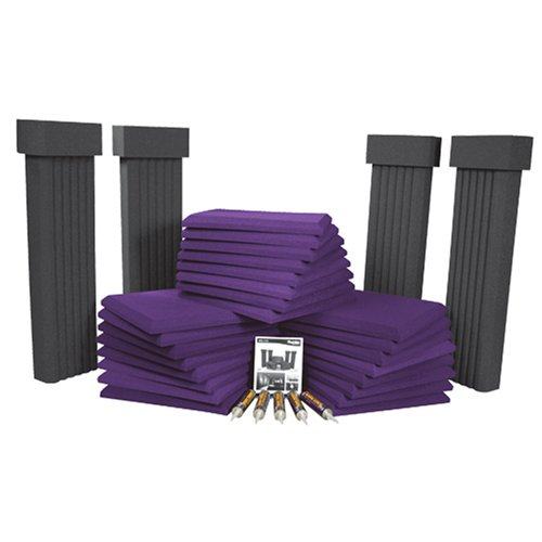 Auralex SFS112PUR SFS-112 SonoFlat System; 24- 2'x2'x2 Panels in Purple; 4- 12x6x48 SonoColumns in Charcoal; 4- SonoCollars in Charcoal; 5- Tubes of Tubetak Pro Adhesive