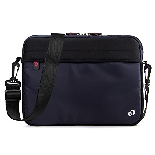 - 7-9 inch Slim Neoprene Messenger Tablet Bag, Water Resistant Cover Sleeve Case for Apple iPad Air, iPad Mini 4, Samsung Galaxy Tab, Insignia Tablets (Navy)