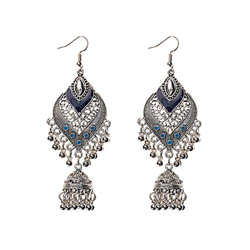 Qingchin 1 Pair Alloy Bohemia Indian Styles Earrings Cage Shape Bells Ear Rings Jewelry Gift(Blue)