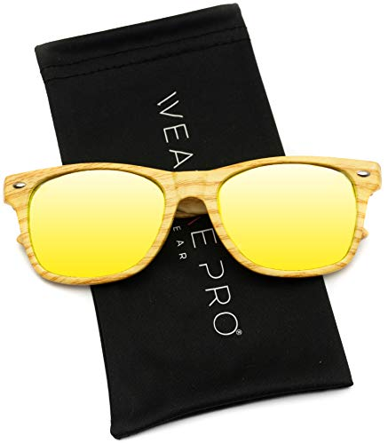 Faux Wood Reflective Color Lens Horn Rimmed Style Sunglasses (Light Print/Yellow, ()