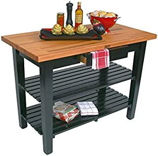 "product image for John Boos OC Oak Country Table - Blended Butcher Block Top, 48""W x 30""D - No Shelf, Basil Green Base"