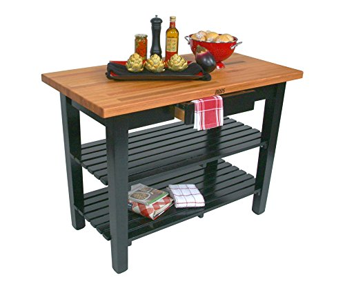John Boos OC Oak Country Table - Blended Butcher Block Top, 36''W x 25''D - No Shelf, French Roast Base by John Boos