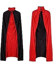 Wishstar Vampiermantel voor Halloween, opklapbare coller mantel, omkeerbare mantel, zwart, rood, vampierkostuum voor volwassenen of kinderen voor Holloween cosplay party, 140cm