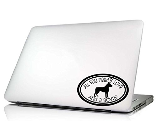 Dog Laptop Decal - All you need is love cute oval dog vinyl sticker art (Boxer)