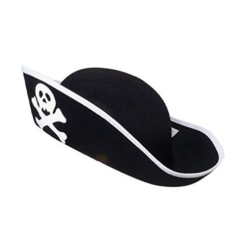 US Toy Felt Pirate Hat (4-Pack) (Black Hat Felt Pirate)