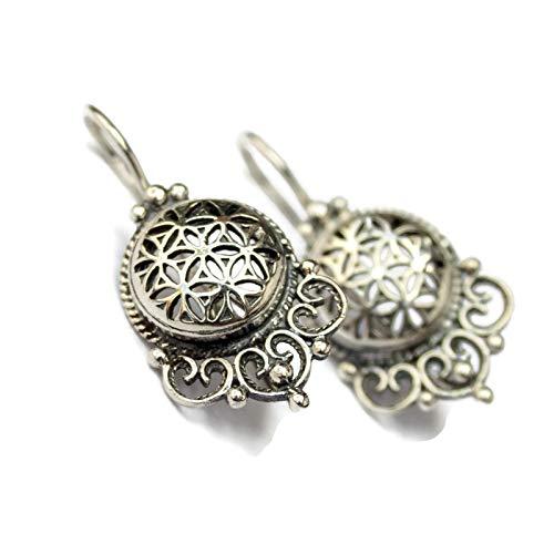 - Flower of Life Sterling Silver Vintage Filigree Mandala Seed Circle Of Life Earrings Sacred geometry Yoga Buddhist Kabbalah Jewelry Symbol of creation