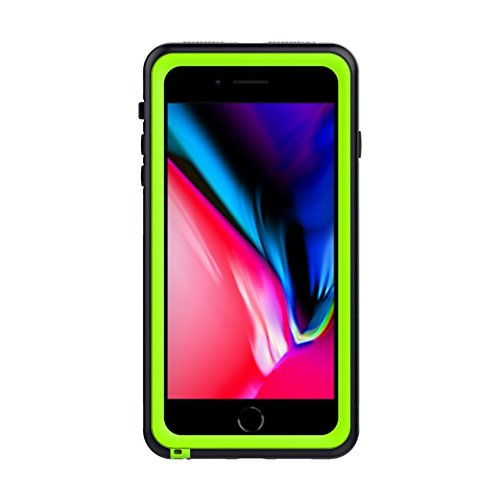 Scheam iPhone 7 Plus Waterproof Case Support Wireless Charging Built in Curved Screen Protector Rugged 6.6ft 30 Minutes Shockproof Transparent Cover Waterproof Case iPhone 7 Plus Green
