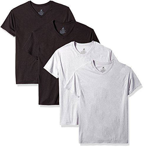 HanesComfort Soft Dyed V-Neck T 4-PACK (2XL, Black & Grey)