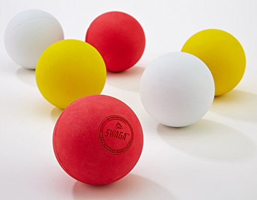 SWAGA - MULTI-COLORED 100% RUBBER - Lacrosse Balls NOCSAE - NCAA- NFHS OFFICIAL CERTIFIED - 6 LACROSSE BALLS (Red Yellow & White, ) WITH CARRY BAG by SWAGA (Image #3)