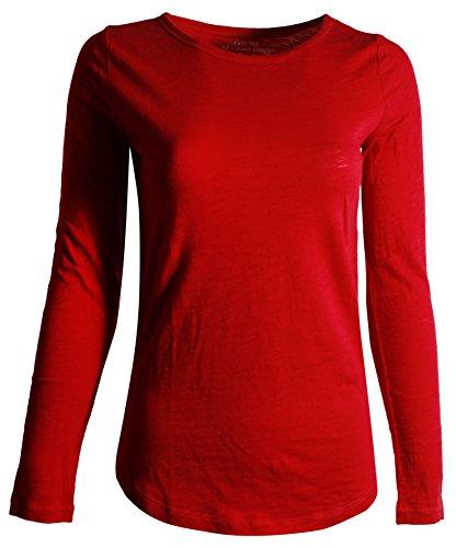 GAP Women's Long Sleeve Crewneck T-Shirt (L, Red) - Gap Red T-shirt