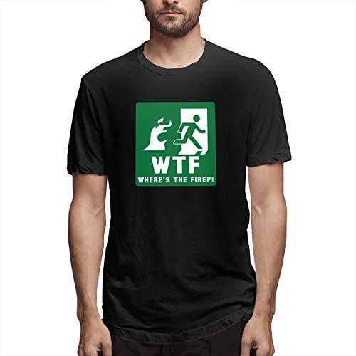 Jully Satt WTF Where's The Fire Fireman Firefighter Department Men's Printing Sport Black Shirt F XL