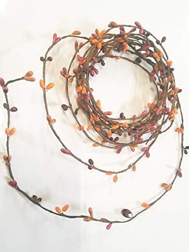 Sunset Orange Pip Berry Single Ply Garland 18' Country Primitive Floral Craft Decor - 3 Strands of 6' Garland That Can Be Utilized Separately or Twisted Together to Equal 18 Feet of String Garland ()