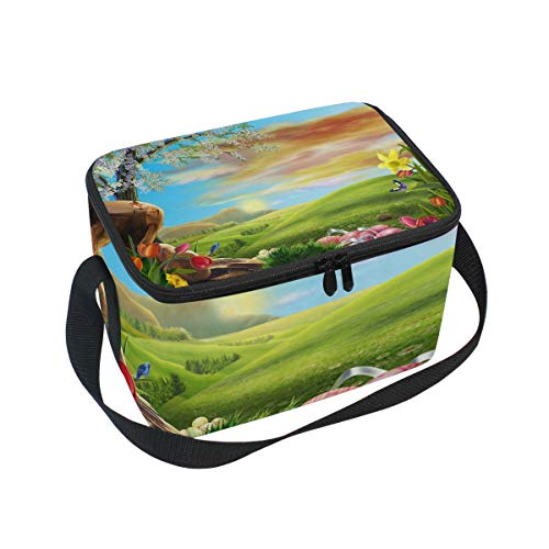 Glass Cooler for Bird Flower Strap Picnic Bag Shoulder Lunch Lunchbox Butterfly Green nwxXq7WHg