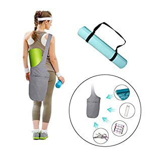 Yoga Mat Bags Carrier Yoga Mat Strap Sling Carrying Strap Yoga Mat Holder Gym Mats Bags with Large Size Pocket Zipper…