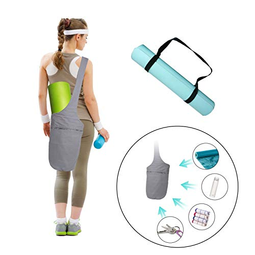 Yoga Mat Bags Carrier Yoga Mat Strap Sling Carrying Strap Yoga Mat Holder Gym Mats Bags with Large Size Pocket Zipper Pocket Yoga Bags Carriers Adjustable Yoga Strap Yoga Gear Accessories Fit Most Siz