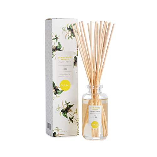 Natural Reed Diffuser Set by DANI Naturals - Warm Sandalwood Vanilla Scent - Aromatherapy Essentials Oils - Alcohol Free - 10 Diffuser Sticks - 3.5 Ounce Glass Bottle