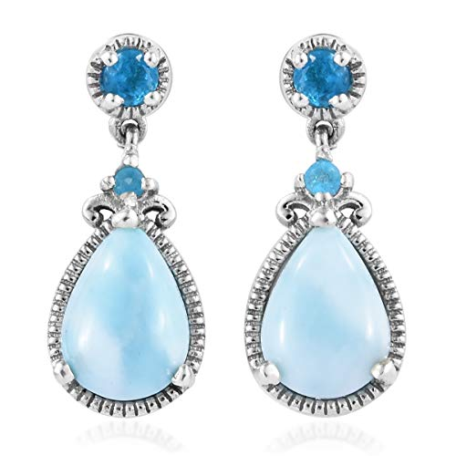 925 Sterling Silver Platinum Plated Larimar Neon Apatite Dangle Drop Earrings Gift Jewelry for Women