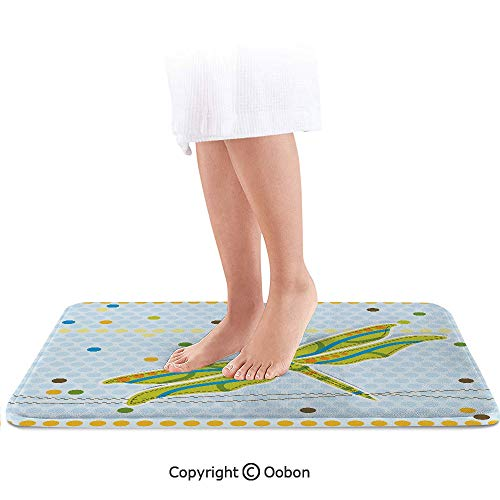 (Dragonfly Bath Mat,Dragonfly Figure Over Little Circular Spots and Dots Kids Cartoon Decorative,Plush Bathroom Decor Mat with Non Slip Backing,36 X 24 Inches,Lime Green Light Blue)