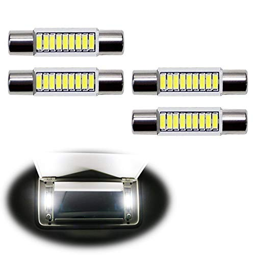 iJDMTOY 4pcs Extremely Bright 9-SMD 29mm 6614 LED Replacement Bulbs For Car SUV Truck Sunvisor Flips Vanity Mirror Lights, Xenon White ()
