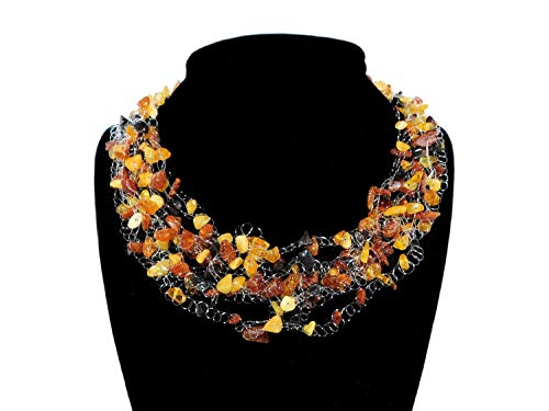 Multicolor Baltic Amber Floating Necklace. Multistrand Amber Chip Nugget Necklace ()