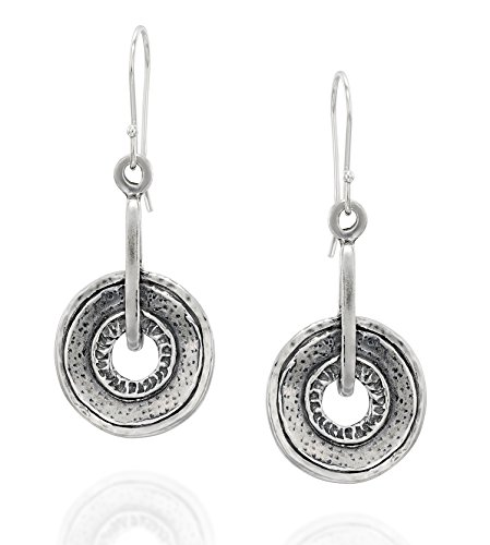 (Retro Design Round Circle Earrings with French Wire Ear Hooks 925 Sterling Silver Women's Jewelry)