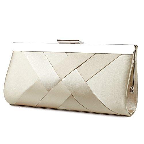 Bidear Satin Evening Bag Clutch, Party Purse, Wedding Handbag with Chain Strap for Women Girl (Champagne) -