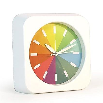 hemara moderno Creative redondo arco iris Silencioso Non-ticking barrido de segunda mano, cuarzo