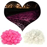 MeliUp Glow Pebbles Stones NoctilucentGravel-240PCS Rocks for Path Lawn Yard Walkway Outdoor Decor Aquarium Fish Tank Garden Luminous Decorative Red &White