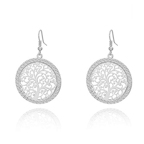 MIXIA Tree of Life Gold Crystal Earrings Women Hollow Out Filigree Tree Pattern Round Drop Earring Jewelry (Silver)