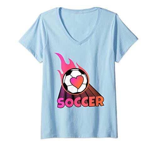 Womens Cute Flaming Pink Soccer Ball V-Neck - Flaming Ball T-shirt Soccer
