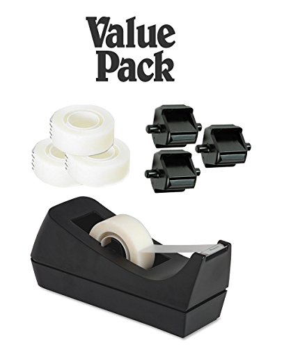 Desktop Tape Dispenser Black Non-skid Base With 3 Premium Rolls Invisible tape With 2 Extra Tape Dispenser Replacement Core - Adhesive Tape Dispenser