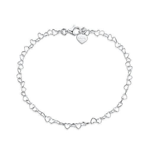 "925 Fine Sterling Silver Naturally Adjustable Anklet - 3 mm Heart Chain Ankle Bracelet - up to 10"" inch - Flexible Fit"