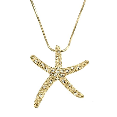 Starfish Pendant Necklace Rhinestone Crystal Rhodium High Polished 11-J0543-GOLD