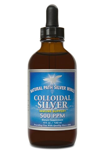 Natural Path Silver Wings Dietary Mineral Supplement Colloidal Silver 500 PPM 4 fl. oz.  120 ml