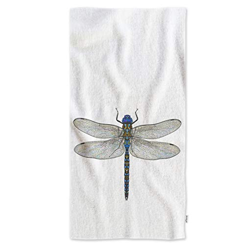 oFloral Dragonfly Hand Towels,Top View of Blue Dragonfly with Transparent Wings Soft Comfortable Super-Absorbent Towel for Bath/Kitchen/Yoga/Golf/Hair Towel for Men/Women/Girl/Boys 15X30 Inch