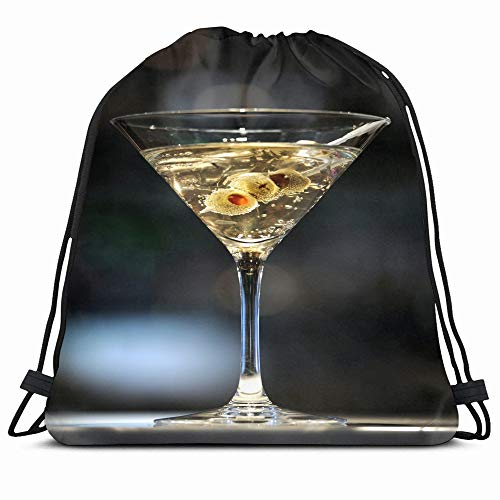 Ahawoso Drawstring Backpack String Bag 14X16 Cocktail Drunk Vodka Martini On Bar Three Olives Food Drink Miscellaneous Shaken Alcohol Alcoholic Sip Bond Sport Gym Sackpack Hiking Yoga Travel Beach -  Z86472835F