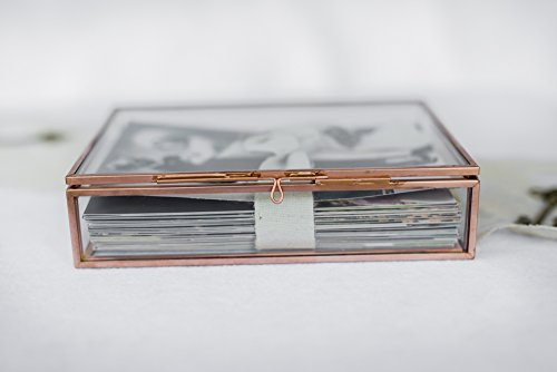Glass Photo Box by Pressed Paisley   4 x 6 Storage or photo display - Vintage Copper decor