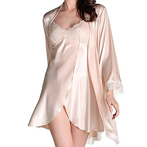 (S~M Women's Lace Satin Silk Nightgown Robe with Full Slip Sexy Chemise Lingerie Pajamas Set Sleepwear Loungewear Champagne)