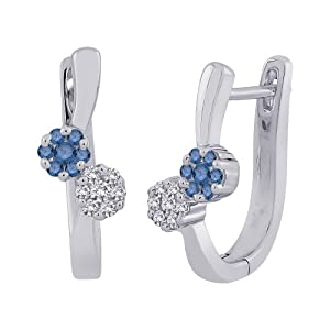 Blue and White Diamond Huggie Earrings in 10K White Gold (1/4 cttw)