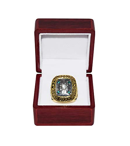 PHILADELPHIA EAGLES (Gene Johnson) 1960 NFL CHAMPIONSHIP GAME WINNER (Playing Vs. Packers) Rare Vintage Collectible Replica Gold Football Championship Ring with Cherrywood Display Box
