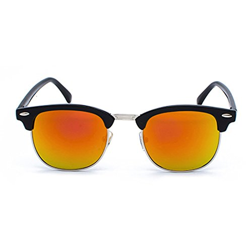 Rouge rétro demi Femmes monture Lunettes Noir Aiweijia soleil hommes avec de polarisés UV400 verres xXgYxCwn