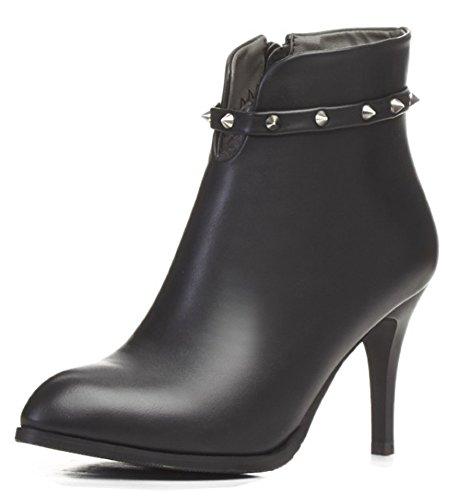 Bottines Noir Sexy Aisun Stiletto Montantes Femme Rivets aU6qwXY
