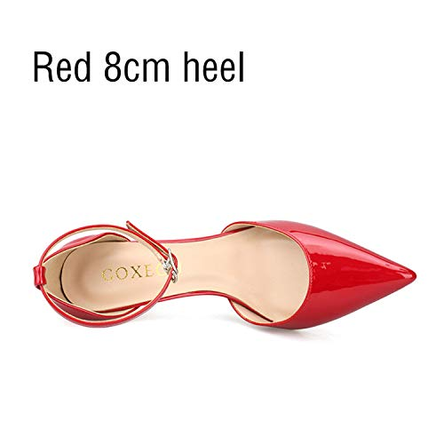 Gabbana & Jeans Leather Dolce - Msanlixian 2018 Women Shoes Thin Heel High Heels Sexy Pointed Toe 4 Color Lace-up Wedding Office Handmade size40 42 43 Red 8cm Heel 7