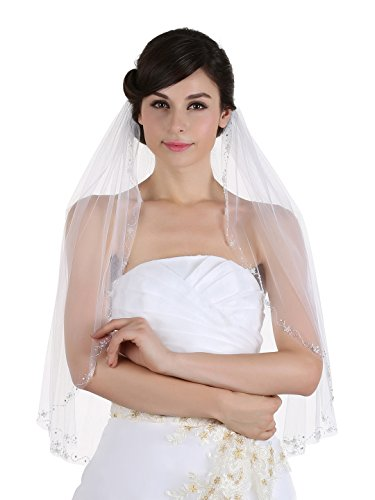 1T 1 Tier Floral Vine Patterns Beaded Edge Veil - White Elbow Length 30