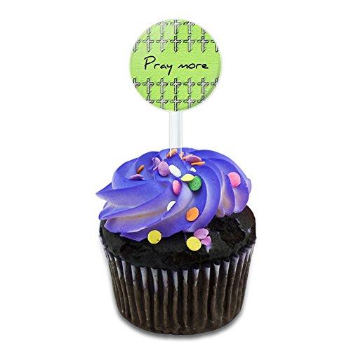 Pray More Giving Thanks First Cake Cupcake Toppers Picks Set