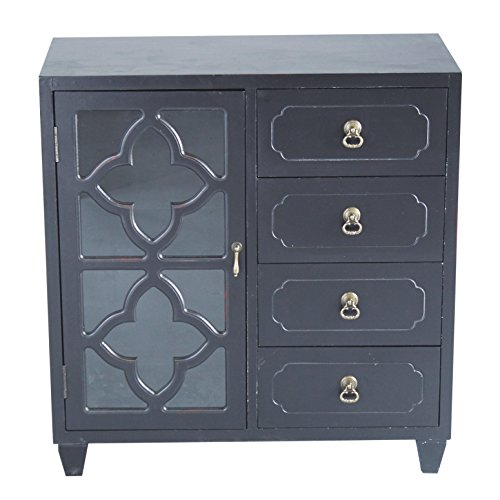 (Heather Ann Creations 4 Drawer Wooden Accent Chest and Cabinet, Clover Pattern Grille with Glass Backing, 30.75