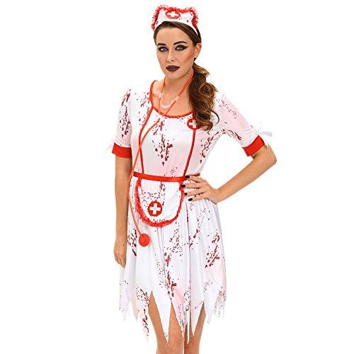 Naeker Women's 3pcs Horrible zombie Nurse Costume (L) (Sexy Zombie Nurse Costume)