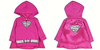 Supergirl Superhero Newborn Infant Baby Girl Sweatshirt Hoodie Jacket with Cape Pink