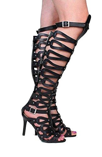Breckelles Diva 22 Caged Studded High Heel Gladiator Sandals Black QPcKHpx