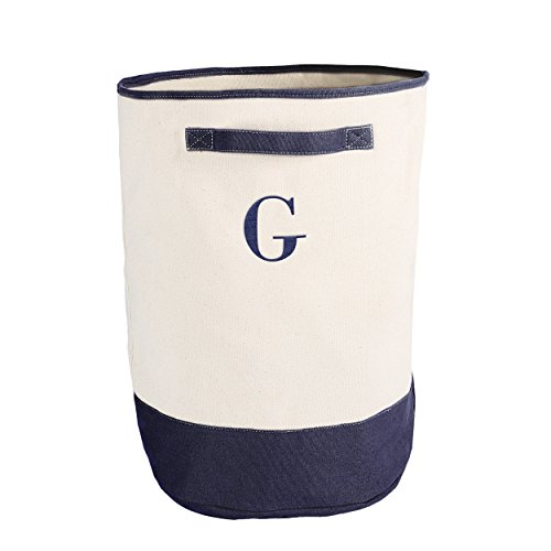 Cathy's Concepts Personalized Round Storage Hamper, Navy, Letter G
